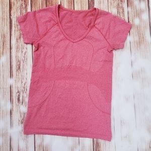 Lululemon Pink Short Sleeve Swiftly V-Neck Gym
